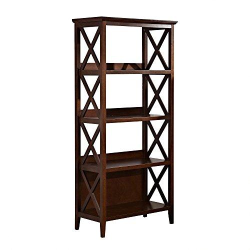 - Mixcept 67''Solid Pine Wood Bookshelf 4 Tier Bookcases Storage Rack Shelving Unit Collection Shelf, Walnut