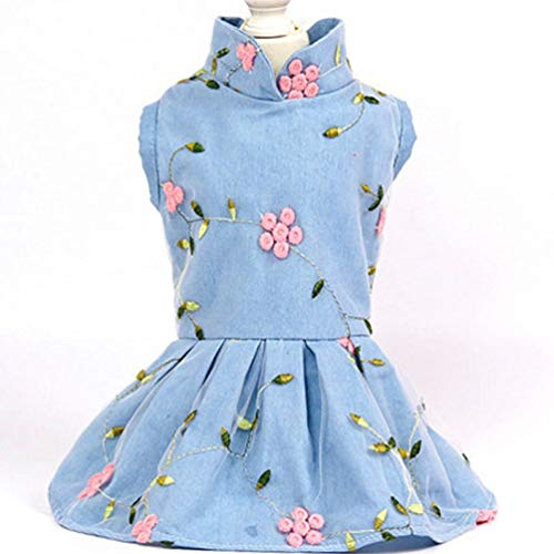 LVYING Princess Dog Dress Jeans Puppy Costume Floral Pet Dogs Clothing for Small Medium Outfit Denim Wedding Dresses -