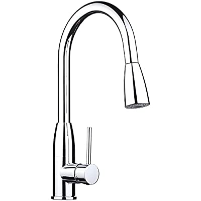 pH7® WE7004d 1-hole Brass 360 degree Pull-down Kitchen Sink Faucet with Magnetic Sprayer; 1- handle Kitchen Faucet; Excellent Finish, Nylon Hose, and Docking System