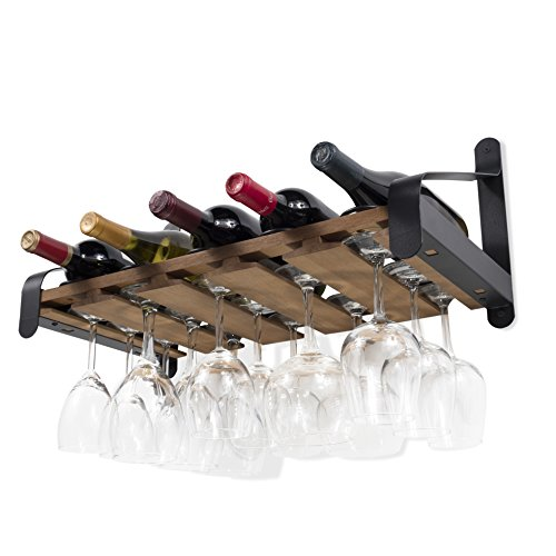 Wine Storage Credenza - Rustic State Wall Mounted Wood Wine or Liquor Bottle Storage Holders | Stemware Racks Organizer (Walnut)
