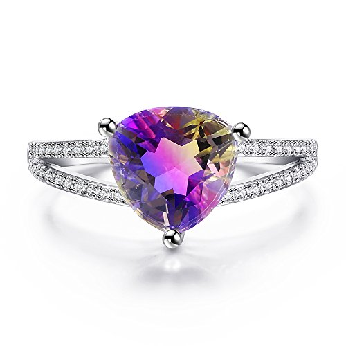 Trilliant Yellow Ring - White Gold Plated Simulated Ametrine Purple Yellow Gradient Crystal Solitaire Rings for Women, Trilliant-Cut Size 5