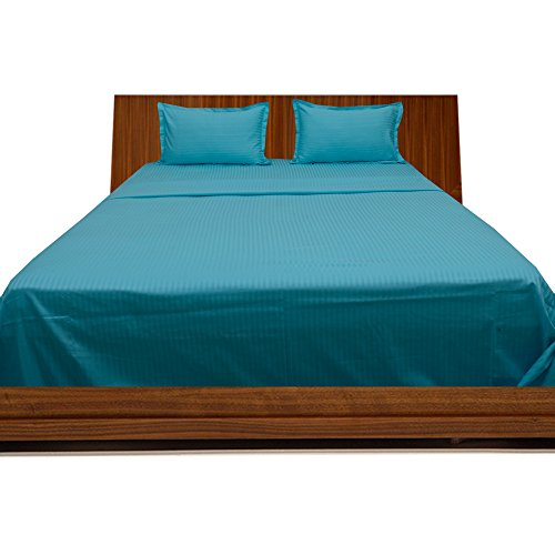 - Dreamz Bedding- 350-Thread-Count Egyptian Cotton Bed Sheet Set 21 Inch Extra Deep Pocket Grand King Size, Turquoise Blue/ Teal Striped 350TC 100% Cotton Sheet Set
