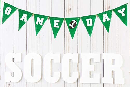 Super Bowl Game Day Burlap Banner Décor - 2 Foam Finger, Triangle Flag Football Party Sign, Sports Party Banner for Kids Office School First Birthday Photo Booth Props Baby Shower Party Supply