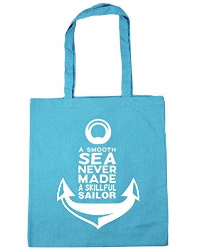 HippoWarehouse a Smooth Sea Never Made A skillful sailor bolsa de la compra bolsa de playa 42cm x38cm, 10litros azul (Surf Blue)