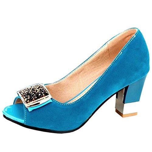 Enfiler Toe Bleu A Femme Sandales Bloc Mode TAOFFEN Peep BqFSxwAxt