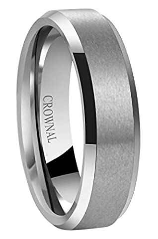 Crownal 6mm 8mm 10mm Tungsten Carbide Wedding Band Ring for Men Women in Comfort Fit Beveled Edges and Matte Finish Size 5 to 16(6mm,10)