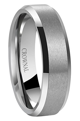 CROWNAL 6mm 8mm 10mm Tungsten Carbide Wedding Band Ring for Men Women in Comfort Fit Beveled Edges and Matte Finish Size 5 to 17
