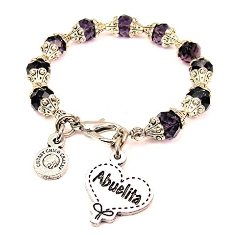 (ChubbyChicoCharms Abuelita Quilted Heart Scroll Capped Crystal Bracelet in Plum Purple)