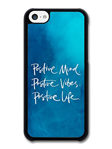 Positive Mind Vibes and Life Inspirational Quote on Deep Blue case for iPhone 5C