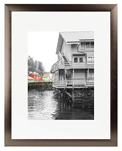 Golden State Art 16x20 Brown Aluminum Metal Picture Frame - Ivory Mat for 11x14 Picture - Wide Molding- Swivel Tabs, Sawtooth Hangers - Wall Display (Dark Brown)