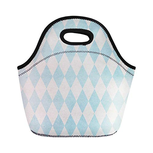 Semtomn Lunch Tote Bag Blue Diamond Harlequin Pattern on Basic Shapes Collection Beige Reusable Neoprene Insulated Thermal Outdoor Picnic Lunchbox for Men -