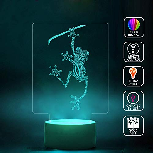 - 3D Illusion LED Projector Lamp Handmade,Tattooed Tree Frog Light Projecting Color-Changing USB Cable Smart Touch Button LED Multi 7 Color Change Desk Table Light Kids Gift