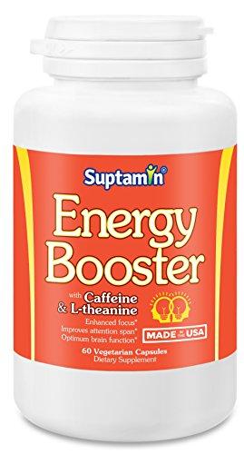 Supplément de Booster d'énergie naturel avec caféine & L-théanine | Made in USA | 60 Capsules végétariennes | Suptamin ®