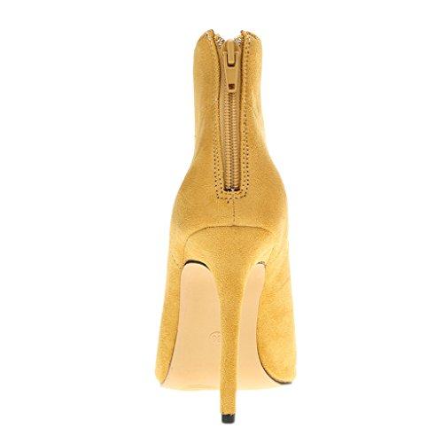 Peep EKS ante Botas clásicas Toe Amarillo cortas altos Zesvi puntiagudo Vestido delgados Tacones Boda rUwEUq
