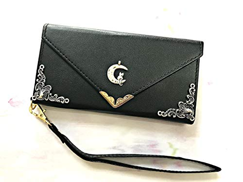 (Cat on the moon envelope leather wallet phone case cover for iPhone X XS XR XS Max iPhone 8 7 6 6s Plus Samsung Galaxy S6 Edge S7 Edge Galaxy S8 S9 S10 Plus Note8 Note 9 MN0584)
