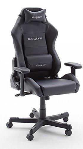 DX Racer3, Gaming Stuhl, Schreibtischstuhl, Bürostuhl, Chefsessel mit Armlehnen, Gaming chair, Bezug Kunstleder, 74 x 117-127 x 50 cm, Gestell Alu schwarz