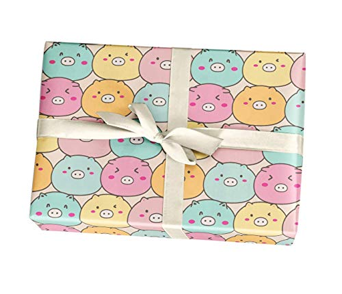 Cute Pig Birthday Wrapping Paper Gift Sheets, 10 Pack of 11x17 inch Sheets, 15 FT, Handmade from Texas -