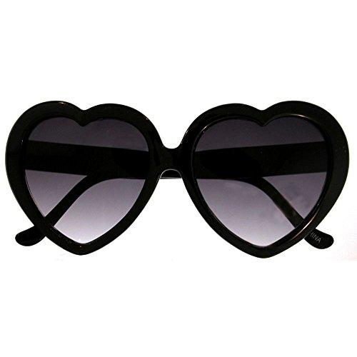 Large Oversized Womens Heart Shaped Sunglasses Cute Love Fashion Eyewear - Black Heart Sunglasses