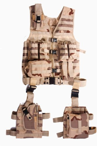 Deluxe Vest Pocket (Ultimate Arms Gear Tactical Assault Scenario Desert Tan Camo Camouflage MOLLE 10 Piece Ambidextrous Complete Kit Set Deluxe Modular Web Vest w/ Hydration Bladder Pocket + 2 Open-Top Double Mag)