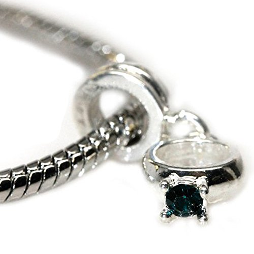 Ring Dangle Engagement Bead (Rhinestone Engagement Ring Dangle Charm Bead Silver Tone For Snake Chain Bracelets (Select Your Color From The Menu))