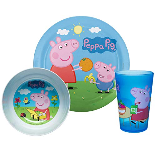 Zak Designs PEPA-0391 Kids Dinnerware Sets, 3 Piece, Peppa Pig