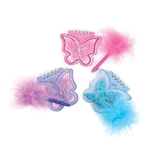 (Lot of 12 Assorted Color Mini Butterfly Glitter Notepads with Feather Boa Pens )