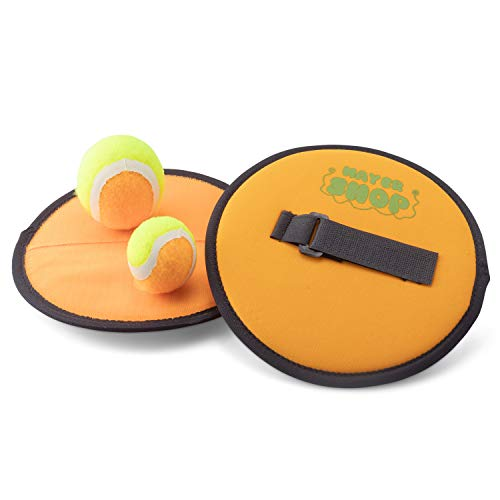 Mayershop Paddle Ball Catch Set - Toss and Catch Ball Set Includes 2 Paddles, 1 Large Ball and 1 Small Ball - Adjustable Paddles Made from Durable Recycled Plastic-Beach Paddle Ball Game