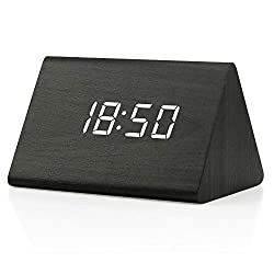 GEARONIC TM Modern Triangle Wood Clock Digital LED Wooden Alarm Clocks Digital Desk Thermometer Classical Timer Calendar Updated 2018 Brighter LED - Black