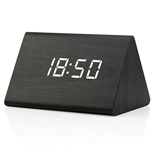 Oct17 Wooden Wood Clock, 2019 New Version LED Alarm Digital Desk Clock 3 Levels Adjustable Brightness, 3 Groups of Alarm Time, Displays Time Date Temperature - Black (White Light)