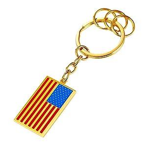House Key Keychain & Keyrings Cool US Flag Design Charm Men Car Key Chain