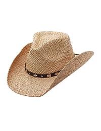 Raffia Straw Western Cowboy Summer Sun Hat, Silver Canyon, Natural