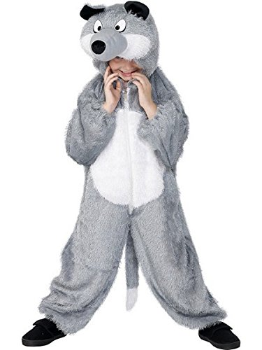 Smiffys Children's Unisex All In One Wolf Costume, Jumpsuit with Tail and Hood, Party Animals, Ages 7-9, Color: Grey, 30788