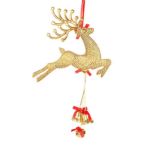 Jeeke Christmas Tree Ornament Christmas Ornaments Decoration Xmas Tree Deer Bells Pendant (Gold, 29x19cm/11.4x7.48inch) - Gold Bell Ornament