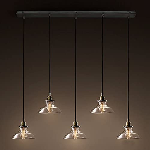 Industrial Retro Country Style Clear Glass Island Chandelier – LITFAD 5 Lights Pendant Light with Clear Cone Glass Shade Antique Ceiling Light