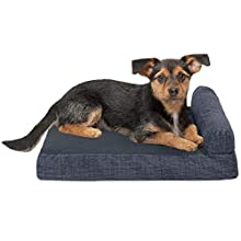 Furhaven Pet Dog Bed - Deluxe Memory Foam Suede Quilted Fleece & Print Suede Chaise Lounge Living Room Couch Pet Bed w/ Removable Cover for Dogs & Cats, Dark Blue, Small