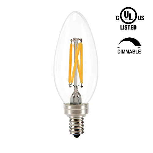 Grozon C35 LED Chandelier Filament Bulb - Dimmable - 3.5W Equivalent 40W - 2700K Warm Glow Light Clear Glass - E12 Edison Candelabra Candle Light Base - 1PACK