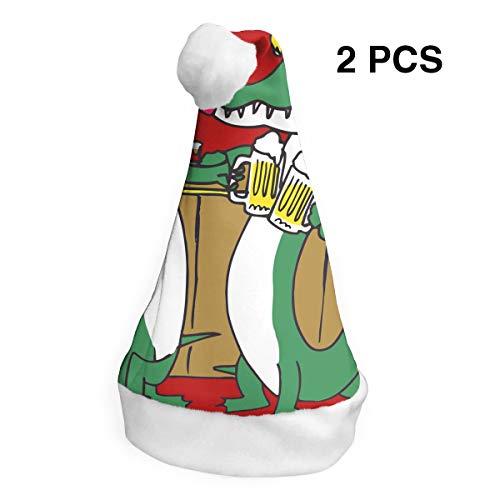 (Drunk Alligator 2 Pack Plush Christmas Hat Santa Hat for Adults Red Polyester Flannel Comfort Liner Christmas Costume)
