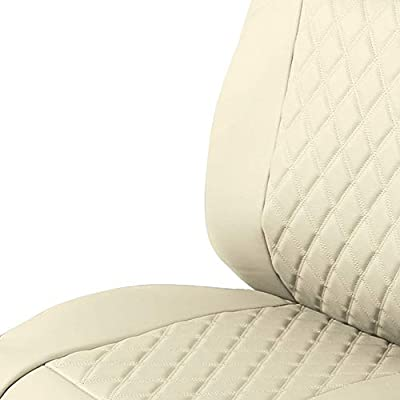 FH Group PU089102 Deluxe Faux Leather Diamond Pattern Car Seat Cushions (Beige) Front Set with Gift - Universal Fit for Cars, Trucks, SUVs: Automotive