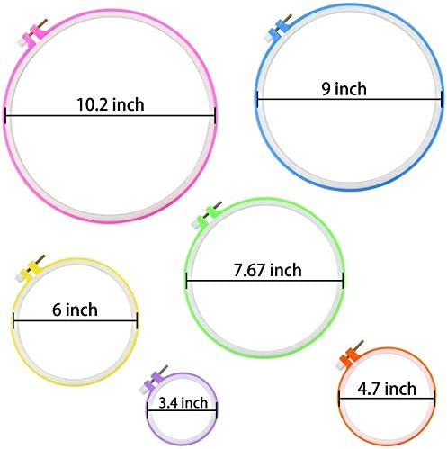 3.4 inch to 10.4 inch Multicolor 6 Pieces Embroidery Hoops and 30 Needles Plastic Circle Cross Stitch Hoop Ring Embroidery Circle Set