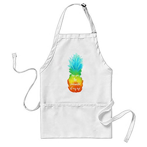 Kdnsgfds Kitchen Series You Are The Pineapple Of My Eye White Apron With Pockets (9083 Series)