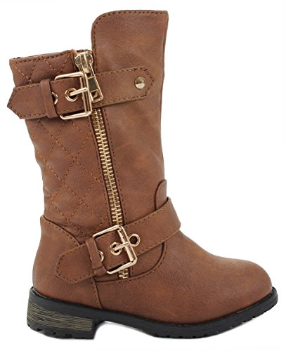 (J.J.F Shoes Baby Girls M21 Tan Dual Buckle/Zip Quilted Back Mid Calf Motorcycle Toddler/Infant Winter Boots-6)