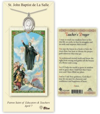 Pewter St. Saint John Baptist De La Salle Medal Pendant Necklace Comes With A 24 Inch Stainless Steel Curb Chain With A Prayer To St Anthony Prayer Card ()