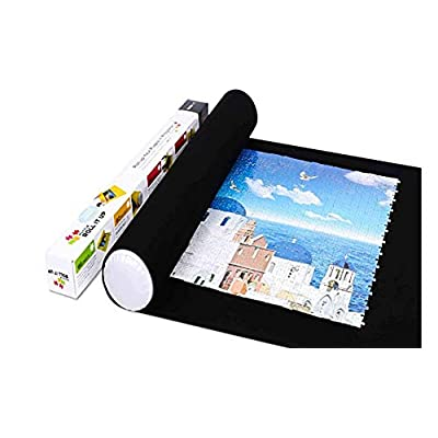 Puzzle Roll Up Mat Puzzle Storage Saver Black Felt Mat, Long Box Package, No Folded Creases, Jigroll Up to 1,500 Pieces - Comes with A Drawstring Storage Bag (Black mat): Arts, Crafts & Sewing