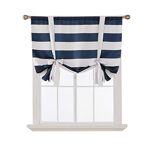 Deconovo Navy Blue Striped Blackout Curtains Rod Pocket Nautical Navy and White Striped Curtains Tie Up Curtain for Kids Room 46W X 63L Navy Blue 1 Panel