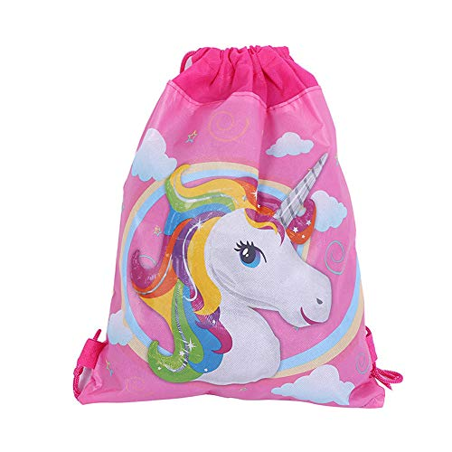 12 Pack Unicorn Gift Bags Drawstring Party Bag Unicorn Party Favors,10.6 * 13.4'' by DPIST