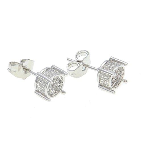 (Leoy88 New Men Rhinestone Crystal Brooch Earrings Square Earrings Micro-Inlaid Zircon Women Hip Hop Fashion Jewelry (Silver))