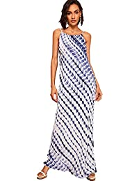 Women's Tie Dye Sleeveless Striped Spaghetti Strap Boho Maxi Dress
