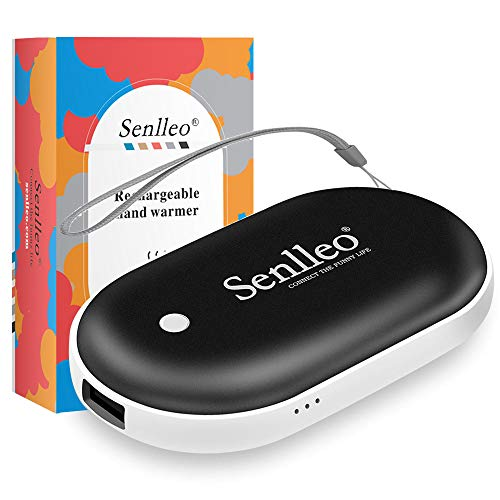 Senlleo Rechargeable Hand Warmer, 5200mAh PowerBank : Larger Capacity and Double-Sided Pocket Warmer Compatible with iPad iPhone Samsung All Android Smartphone, Winter Gift for Men Women(Black)