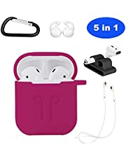 Ontube 5in1 Case Compatible with Apple Airpods,Silicone Protective Cover and Ear Hook Staps for Apple AirPods 2/AirPods 1 Case (Rose)