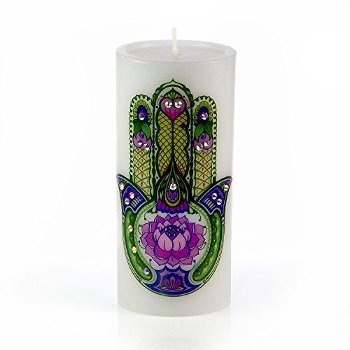 Candle by Sam & Wishbone - Home - Decor - Gift - Luxury White Unscented Hand Made Spiritual Meditation Pillar Candle - Lotus Hamsa (3 x 3 inch)